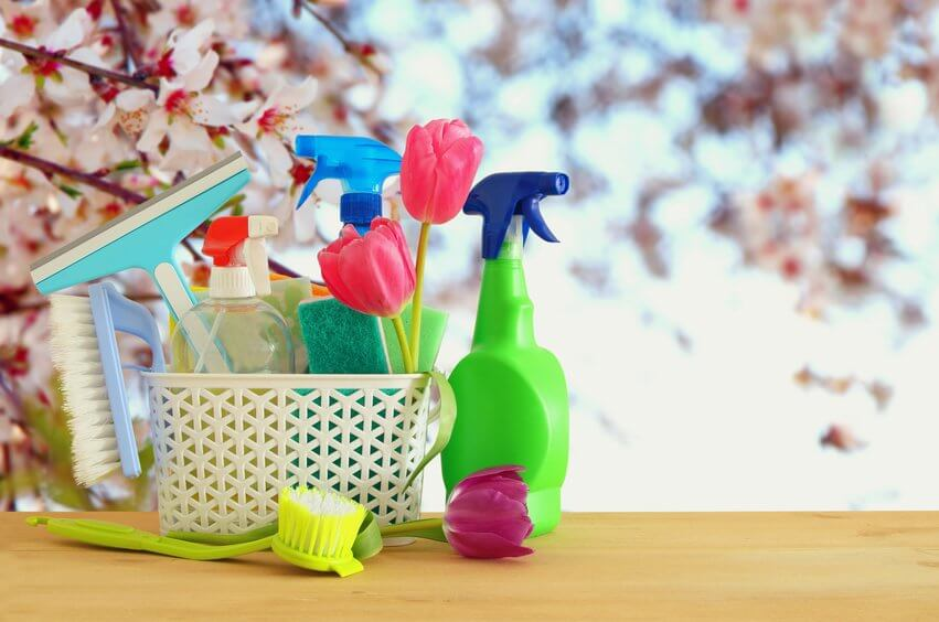 Spring cleaning with supplies.